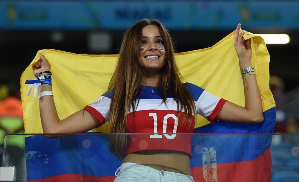 afp. vb-lányok, foci-vb 2014, szurkolók - 2014.06.16. Natal, Brazília, kolumbiai fan