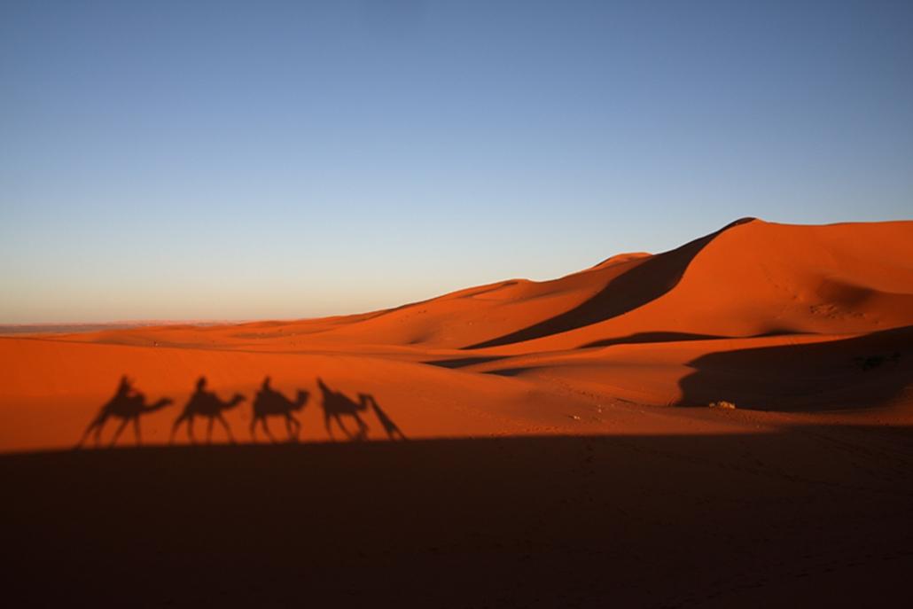 Chebbi Erg két-háromszáz méter magas homokdűnéi.