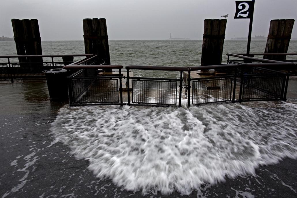 Sandy hurrikán - Battery Park in New York