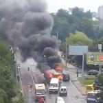Elszabadult és tűzgolyó lett egy troliból Lembergben – videó
