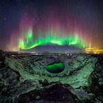 Elképesztő látvány az északi fény az éjszakában - fotó