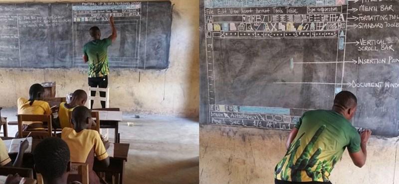 Akkora sztár lett a krétával Wordöt oktató ghánai tanár, hogy a Microsoft gépeket küld az iskolájának