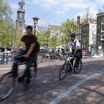 Kék villogóval járhatnak a biciklis rendőrök Hollandiában