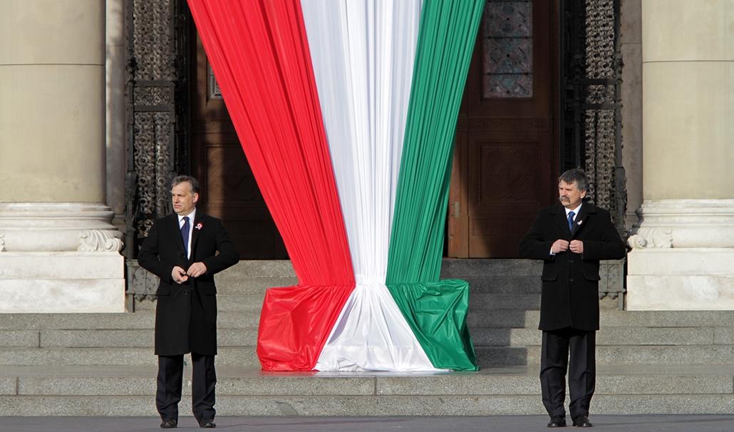 március 15 - zászlófelvonás - Orbán Viktor, Schmitt Pál