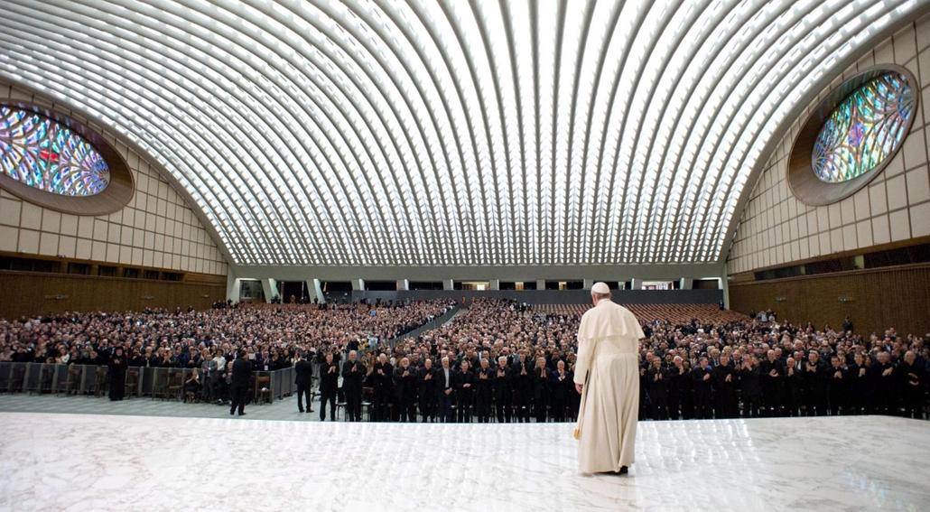 epa. Ferenc pápa 2014.04.10. Konferencia az emberkereskedelemről a Vatikánban