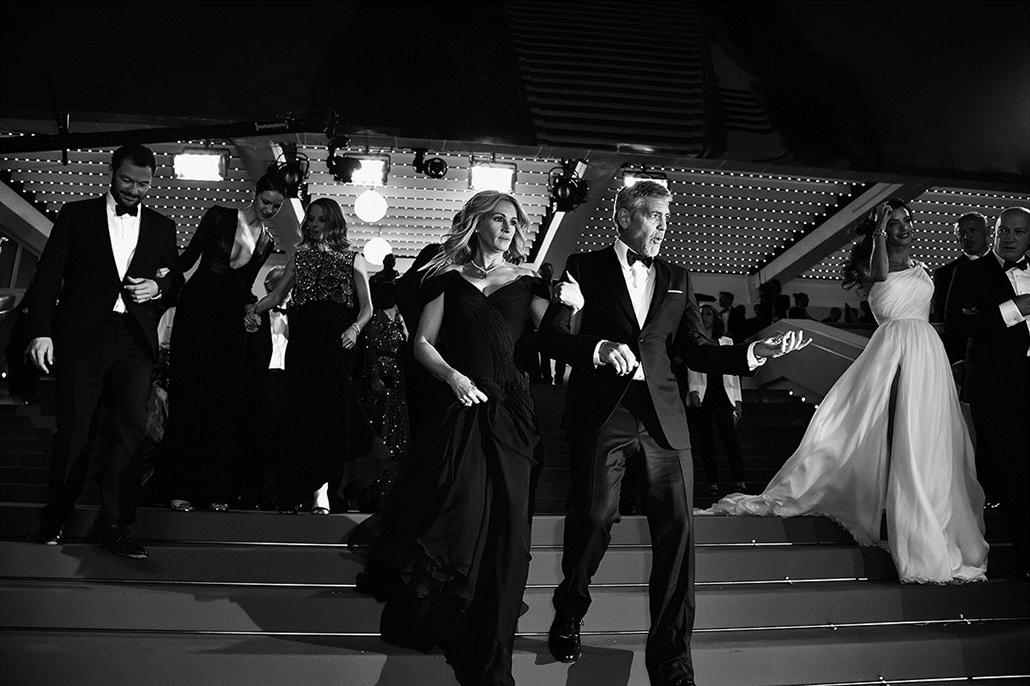 afp.16.05.21. - Julia Roberts és George Clooney - Cannes-i Filmfesztivál feketén-fehéren, Nagyítás