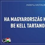 """""""Nem sokáig lesz sértetlen"""" Felcsúton a Kétfarkú Kutya Párt plakátja"""